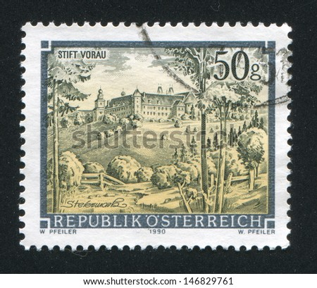 AUSTRIA - CIRCA 1990: stamp printed by Austria, shows Vorau abbey in Styria, circa 1990