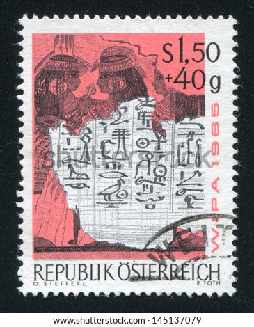 AUSTRIA - CIRCA 1965: stamp printed by Austria, shows Wall painting from Tomb at Thebes, circa 1965