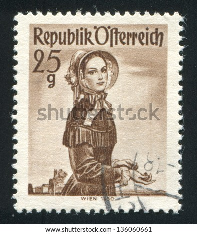 AUSTRIA - CIRCA 1949: stamp printed by Austria, shows Woman in Austian costumes, circa 1949