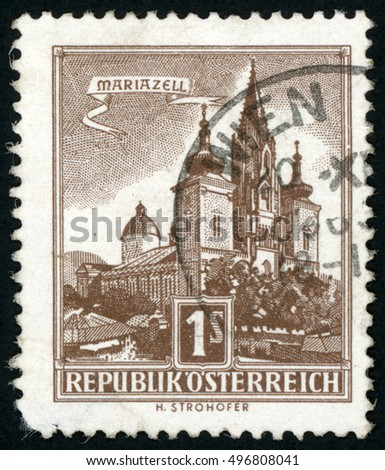 AUSTRIA - CIRCA 1959: stamp printed in Austria (Osterreich) shows catholic church Mariazell, Basilica of Birth of Virgin Mary, Scott 620 A176 1s brown, circa 1959
