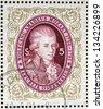 AUSTRIA - CIRCA 1991: stamp printed in Austria shows Wolfgang Amadeus Mozart, circa 1991 - stock photo