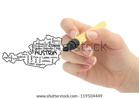 austria - europe on whiteboard - stock photo