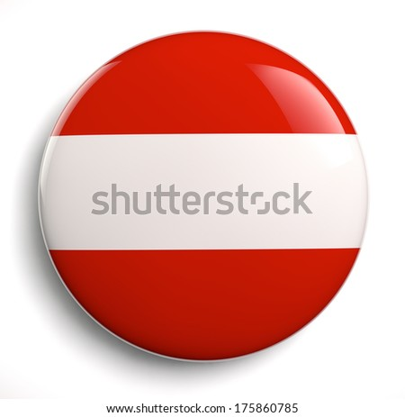 Austria flag icon. Clipping path included.