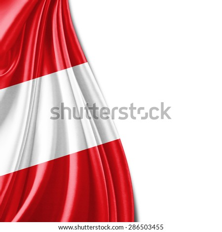 Austria flag of silk and white background