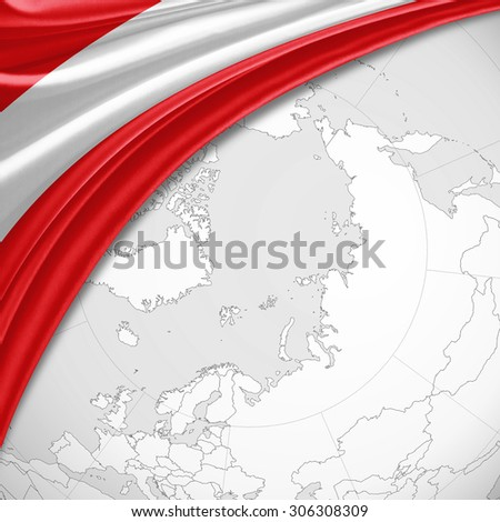 Austria flag of silk with copyspace for your text or images and world map background - stock photo
