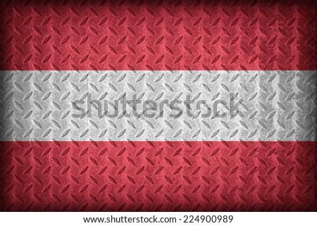 Austria flag pattern on the diamond metal plate texture ,vintage style - stock photo
