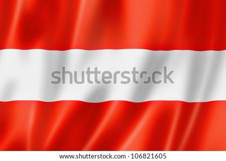 Austria flag, three dimensional render, satin texture - stock photo