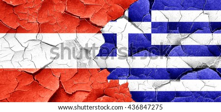 Austria flag with Greece flag on a grunge cracked wall