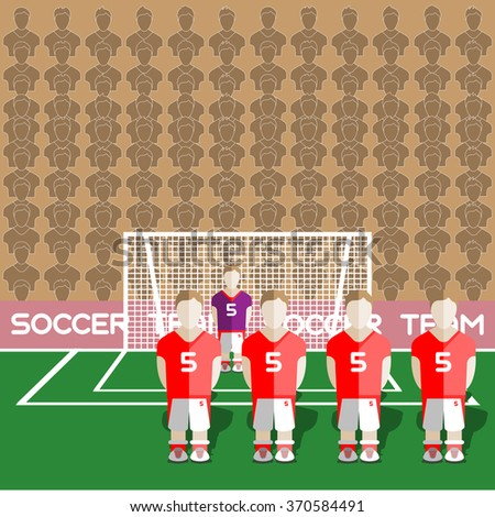 Austria Football Club Soccer Players Silhouettes. Computer game Soccer team players big set. Sports infographic. Football Teams in Flat Style. Goalkeeper Standing in a Goal. Raster illustration. - stock photo