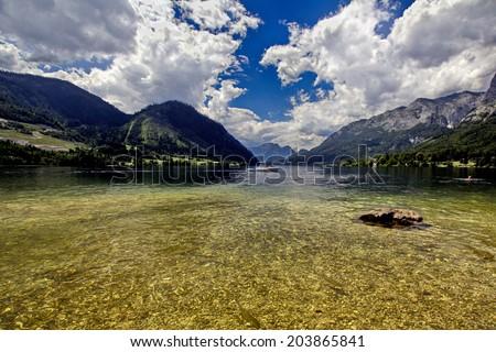 Austria Grundlsee 02-08-2012 large panorama of the lake - stock photo