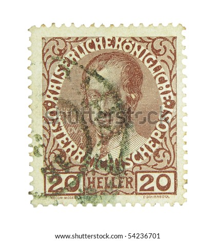 AUSTRIA-HUNGARY - CIRCA 1908: A stamp printed in Austria-Hungary showing emperor Ferdinand I., circa 1908