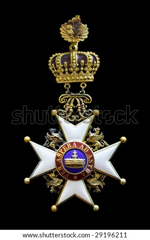 austria imperial  medal _per aspera ad astra_ - stock photo