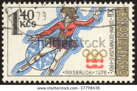 AUSTRIA INNSBRUCK-CIRCA 1976: The Olympic Games are an international event of summer and winter sports. Figure skating, circa 1976.