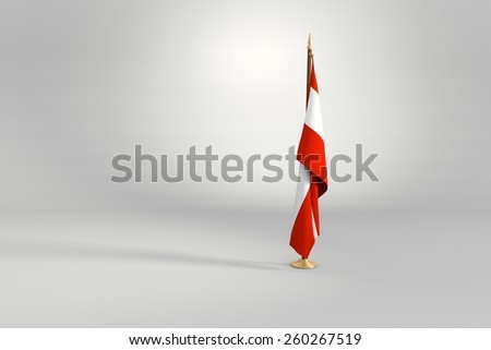 Austria isolated flag on a brown and golden wooden mast 3d illustration - stock photo