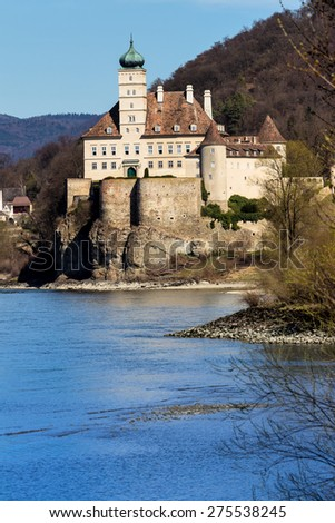 austria, lower austria, wachau, schloss schoenbuehel on the right bank of the danube