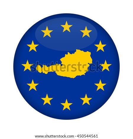 Austria map on a European Union flag button isolated on a white background. - stock photo