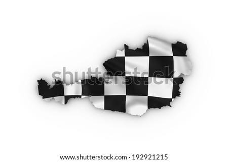 Austria map showing a checkered flag. High quality 3D illustration. - stock photo