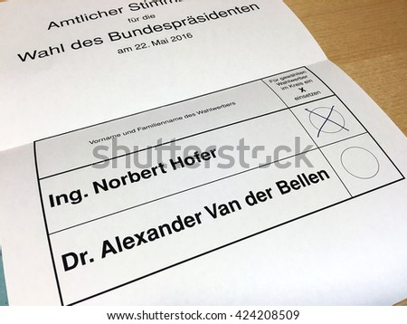 Austria - May 22, 2016: second round of the austrian presidential election 2016 between Norbert Hofer from the Freedom Party Of Austria and Alexander Van der Bellen from Independent Green is required