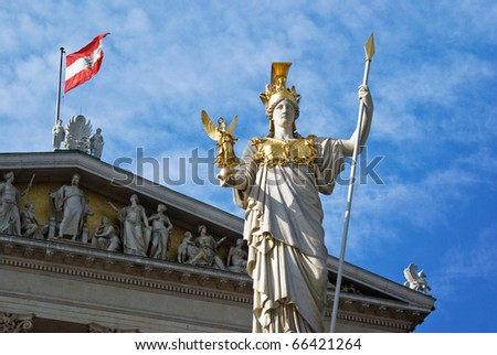 Austria, parliament architecture with building and statue, Vienna - stock photo