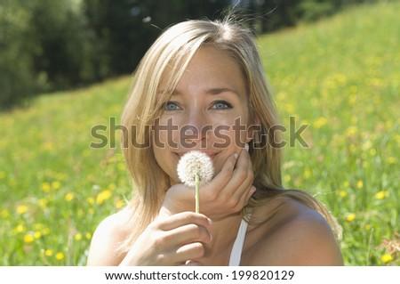 Austria, Salzburger Land, Young woman holding blowball, close up - stock photo