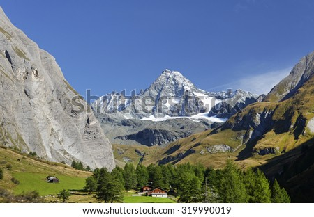 Austria ,September 2015 :Mountain valley with Grosglockner peak in background.. - stock photo