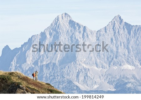 Austria, Steiermark, Reiteralm, Couple of hikers
