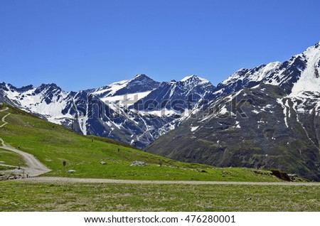 Austria, Tirol, landscape with snow remains and glacier in Tyrolean Alps