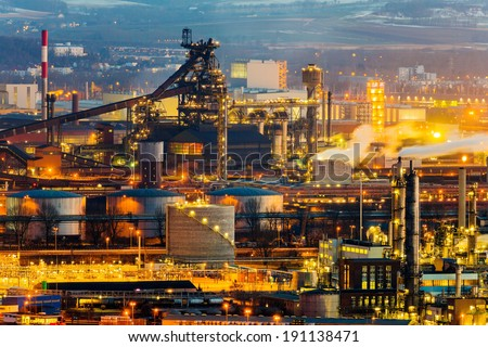 austria, upper austria, linz. night view of the industrial area - stock photo