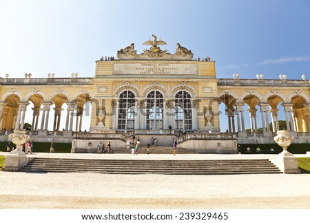 AUSTRIA, VIENNA - AUGUST 14, 2012: The colonnade Gloriette in front of the Schoenbrunn Palace , Vienna, Austria