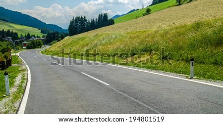 Austrian alpine road - stock photo
