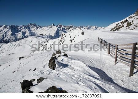 Austrian Alps in Ischgl - stock photo