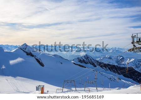 Austrian Alps Mayrhofen Hintertux Glacier - stock photo