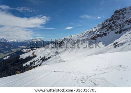 Austrian Alps near Kitzbuehel in winter - stock photo