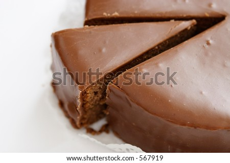 """Austrian Cake """"Sacher Torte"""" on a white background. - stock photo"""