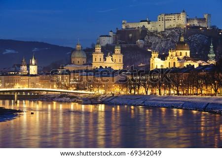 austrian city Salzburg at christmas night - stock photo