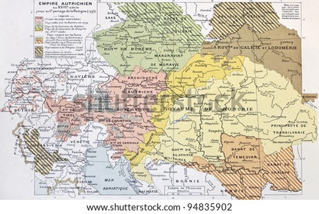Austrian Empire historical development map. By Paul Vidal de Lablache, Atlas Classique, Librerie Colin, Paris, 1894 - stock photo