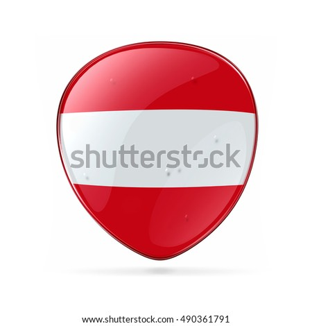 Austrian Flag icon, isolated on white background.
