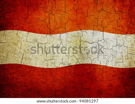 Austrian flag on a cracked grunge background - stock photo