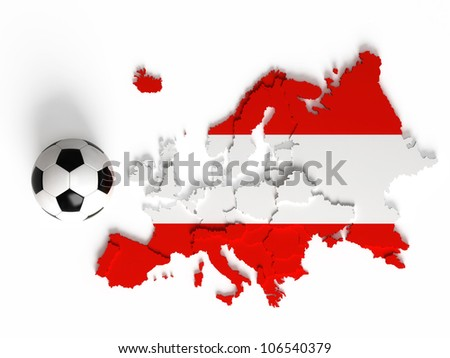 Austrian flag on European map with national borders, isolated on white background