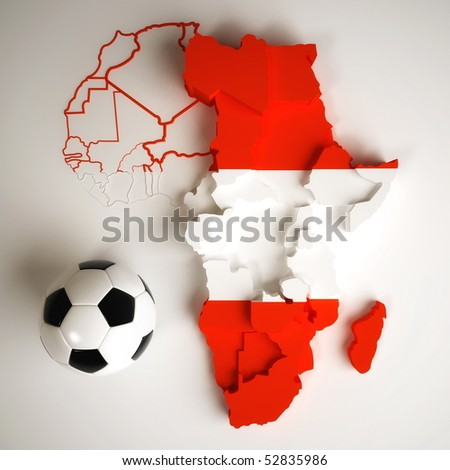 Austrian flag on map of Africa with national borders - stock photo