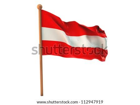 Austrian flag waving on white background. 3D image - stock photo