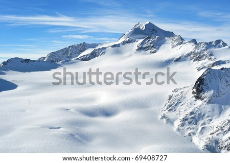 Austrian highest mountain Wildspitze 3776m. Scenic view of Austrian Alps - stock photo