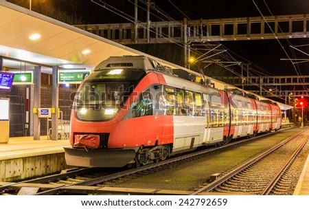Austrian local train at Feldkirch station - stock photo