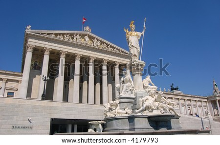 Austrian Parliament Building in Vienna with the Statue of Athena in Front