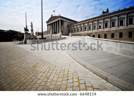 Austrian Parliament Building - Vienna, Austria - stock photo