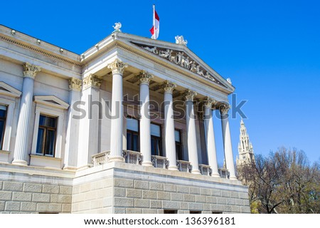 Austrian Parliament Building, Vienna, Austria. The foundation stone was laid in 1874; the building was completed in 1883.