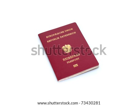 austrian passport isolated on white background - stock photo