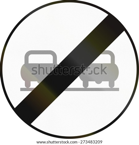 Austrian traffic sign: End of no overtaking zone.