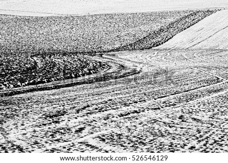 austrian winter landscape in black and white