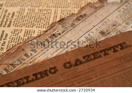 Authentic antique newspapers form the 1800's- tattered and torn with age